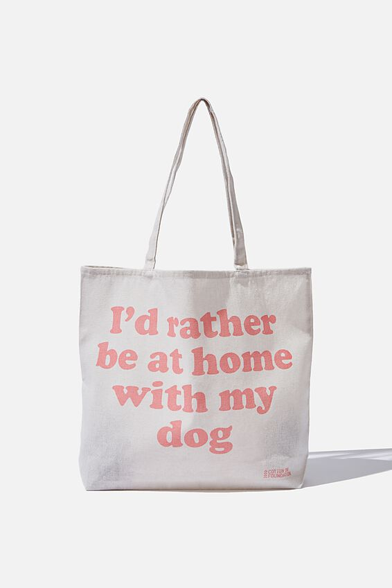 Typo Difference Tote Bag, ID RATHER BE AT HOME WITH MY DOG
