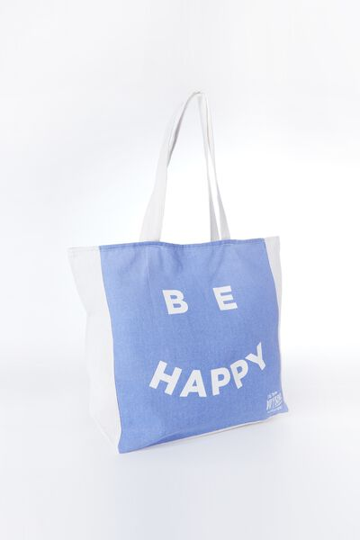 Typo Difference Tote Bag, BE HAPPY BLUE