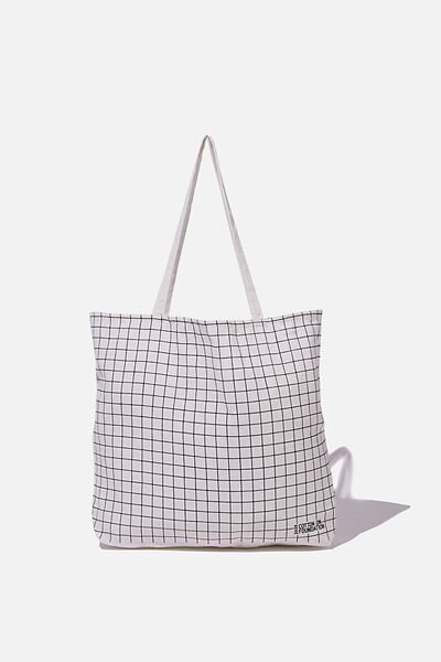 Typo Difference Tote Bag, BLACK GRID