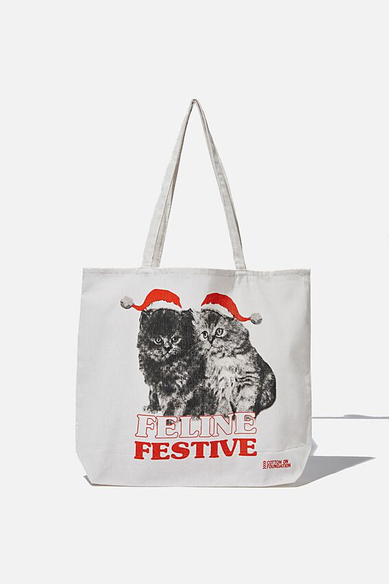 Typo Difference Tote Bag, FELINE FESTIVE