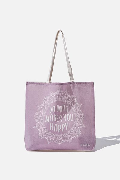 Typo Difference Tote Bag, DO WHAT MAKES YOU HAPPY MAUVE
