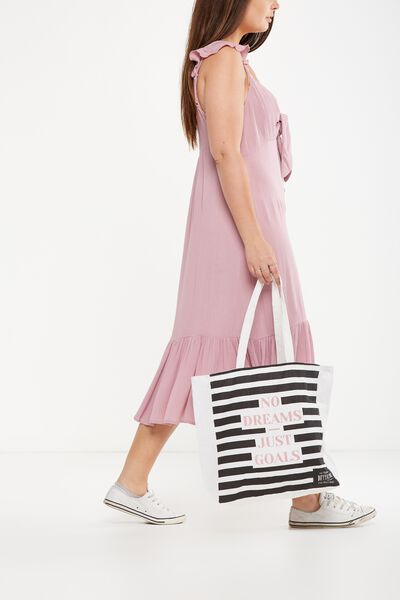 Typo Difference Tote Bag, NO DREAMS JUST GOALS