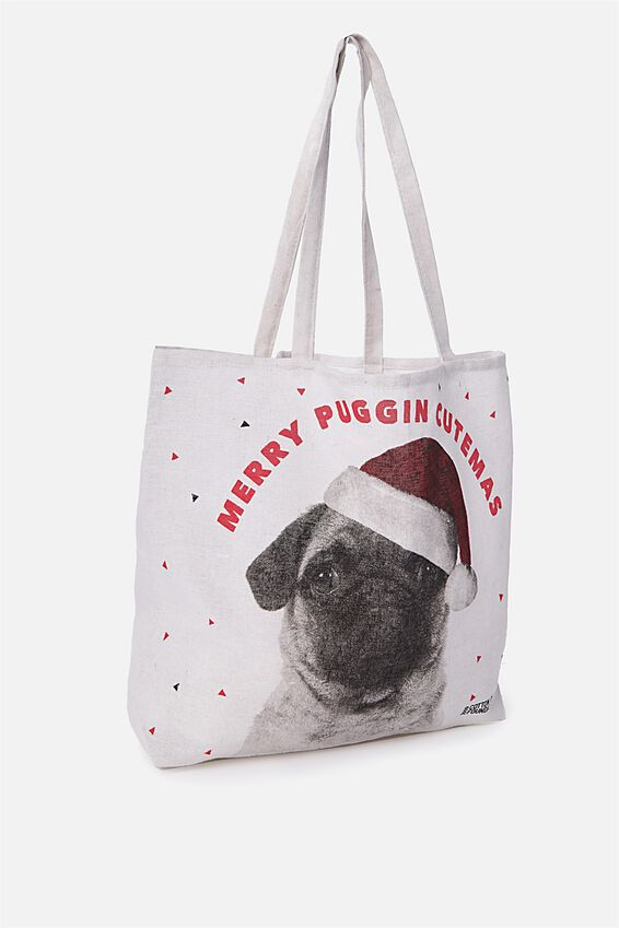 Christmas Tote, MERRY PUGGIN