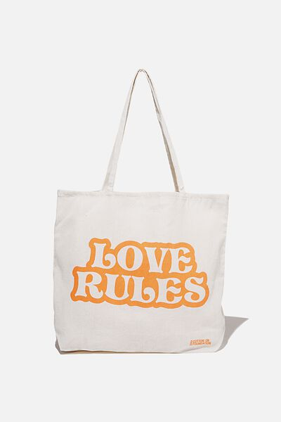 Typo Difference Tote Bag, LOVE RULES