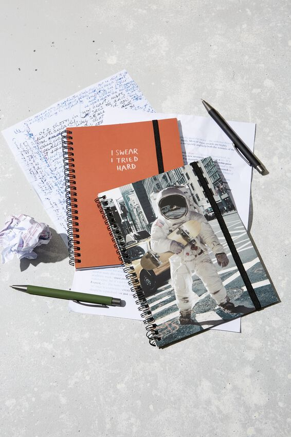 A5 Spinout Notebook Recycled, TBAR SPACE SKATER