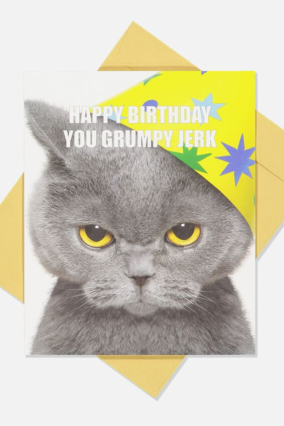 Funny Birthday Card, CAT JERK