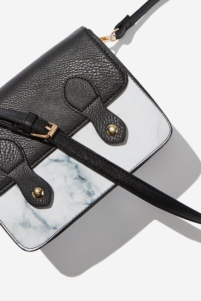 Mini Buffalo Satchel Bag, BLACK & WHITE MARBLE