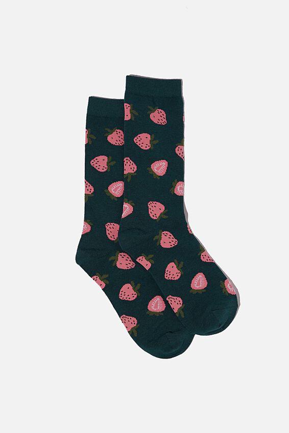 Socks, DEEP GREEN STRAWBERRY