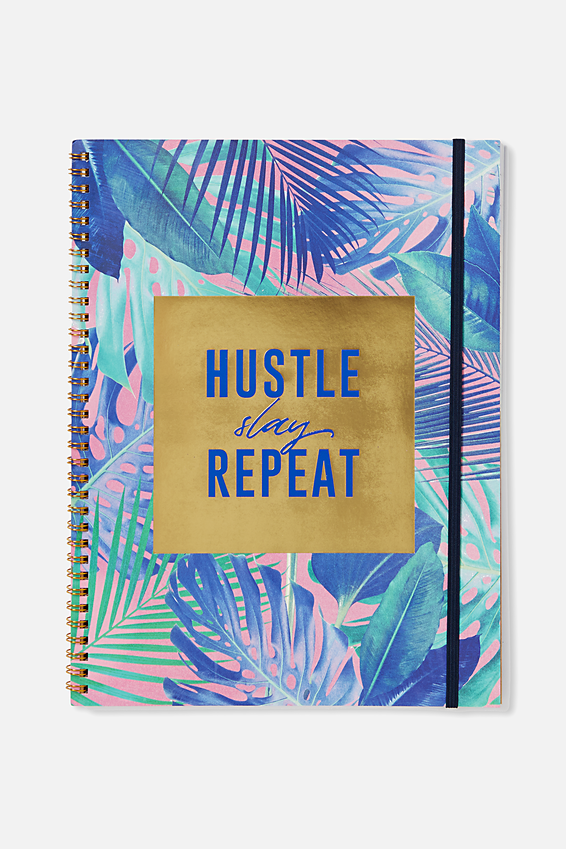 A4 Spinout Notebook - 120 Pages, HUSTLE SLAY REPEAT
