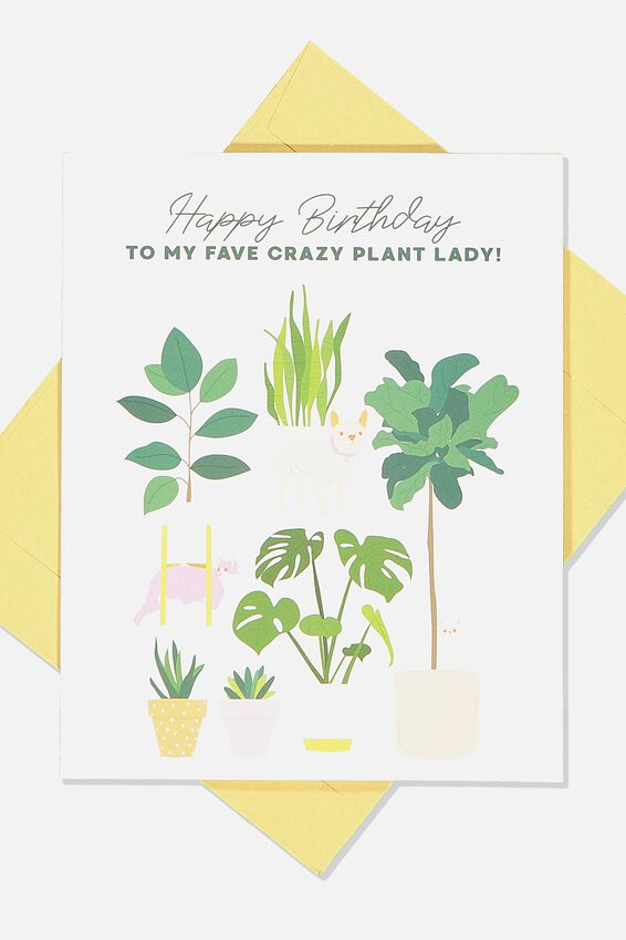 Nice Birthday Card, CRAZY PLANT LADY BIRTHDAY