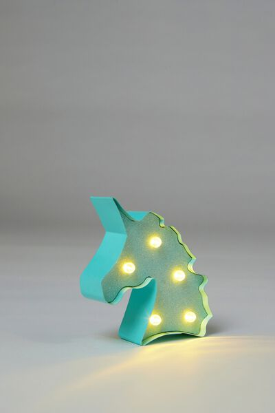 Shaped Mini Marquee Light, AQUA BLUE UNICORN
