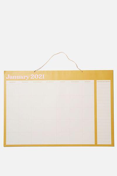 2021 A1 Hanging Calendar, MUSTARD PINK