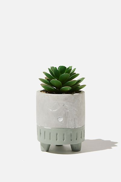 Tiny Planter With Plant, CEMENT & GREEN SLEEPY FACE