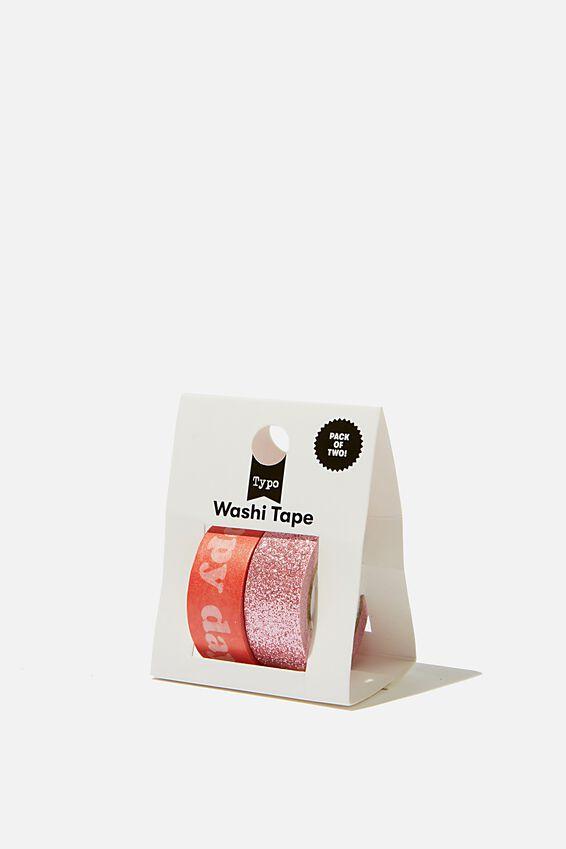 Washi Tape 2Pk, PINK & GLITTER