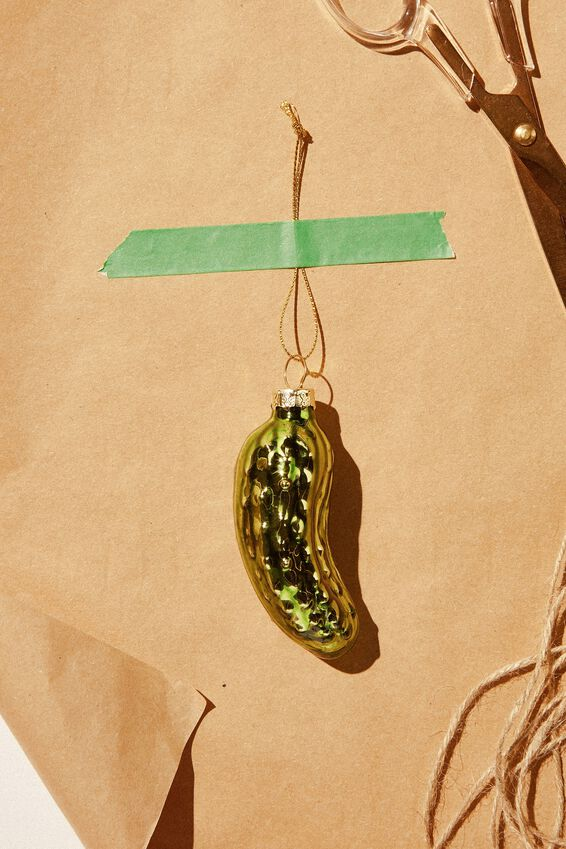 Small Glass Christmas Ornament, PICKLE