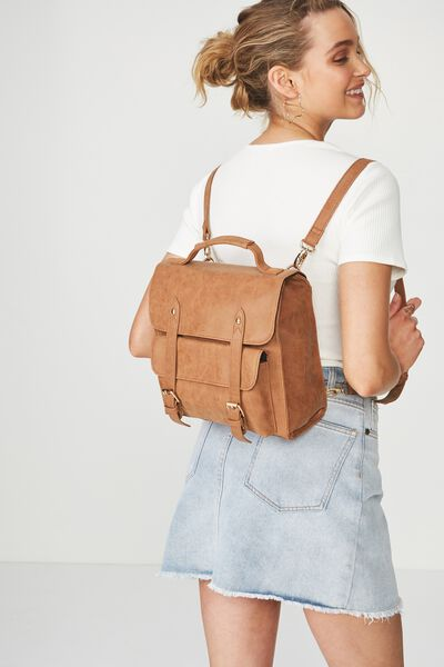 Buffalo Satchel Backpack, MID TAN
