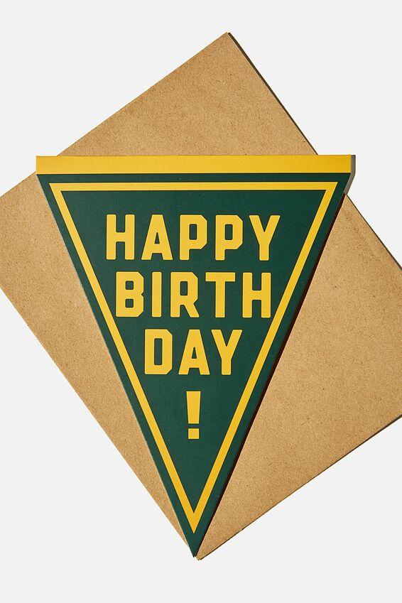 Premium Nice Birthday Card, HAPPY BIRTHDAY GREEN SHAPED PENNANT