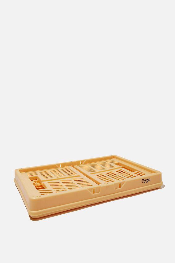 Midi Foldable Storage Crate, WASHED MUSTARD