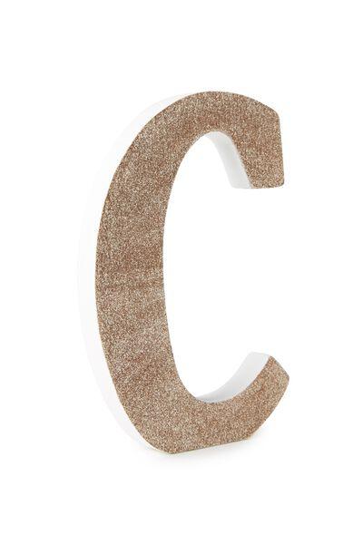Glitter Letterpress Letter, PALE GOLD GLITTER C