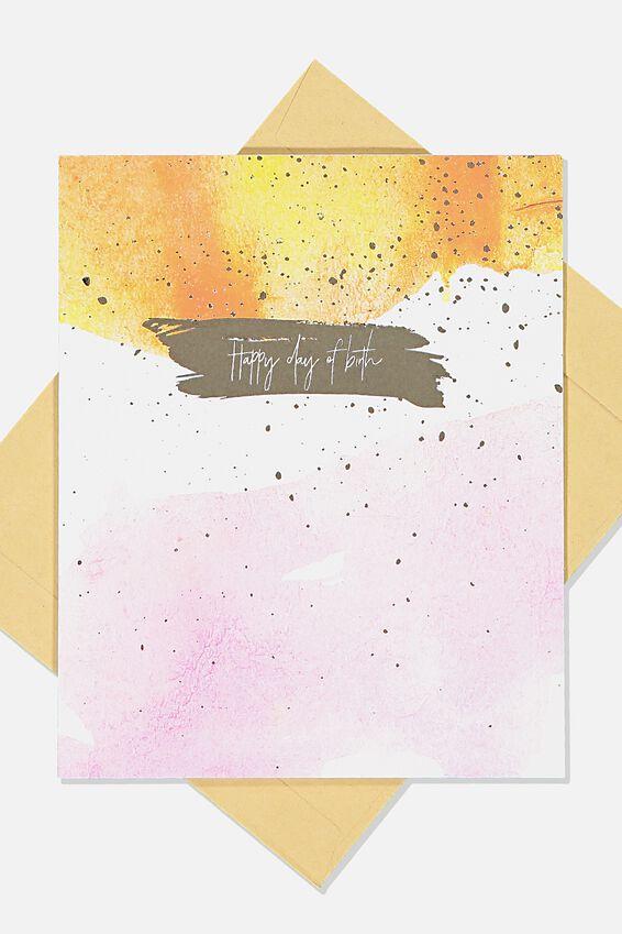 Nice Birthday Card, ORANGE BRUSH STROKE