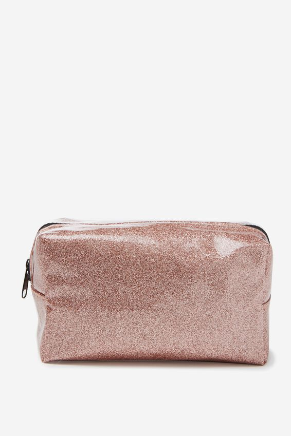 Made Up Cosmetic Bag, ROSE GOLD GLITTER