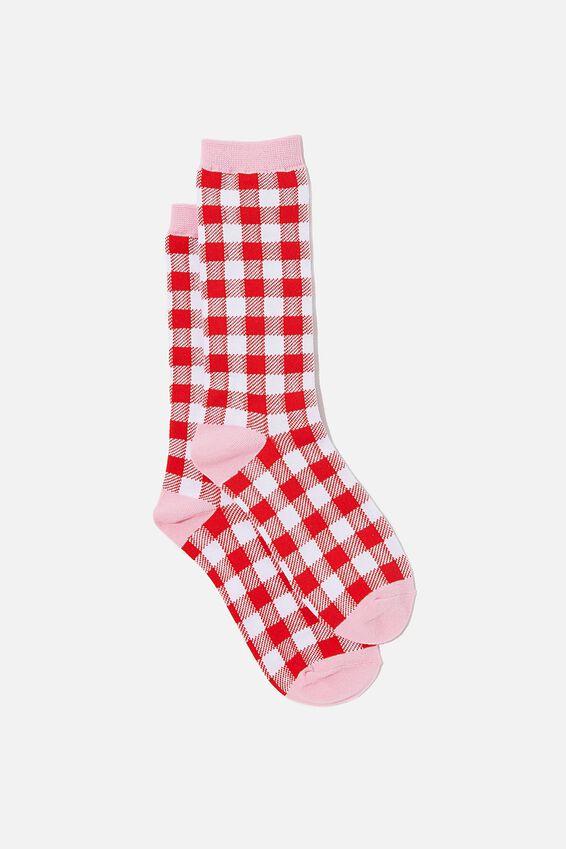 Socks, RED & PINK GINGHAM