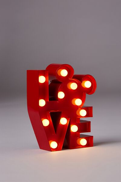 Shaped Mini Marquee Light, LCN MICKEY LOVE RED