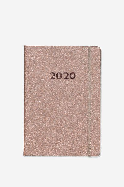2020 A5 Daily Buffalo Diary, ROSE GOLD GLITTER