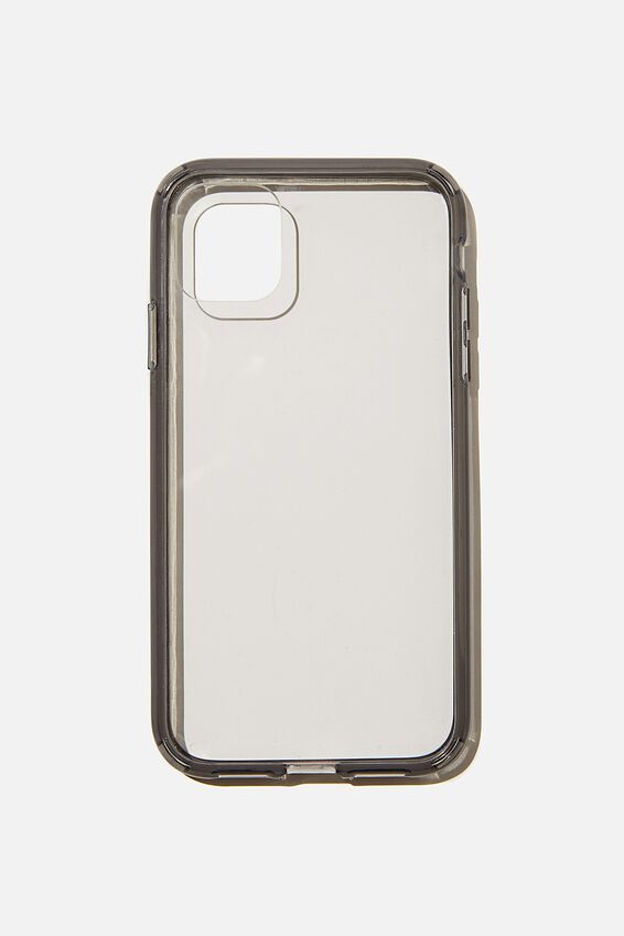Protective Phone Case iPhone 11, CLEAR WITH SEMI TRANSPARENT BLACK