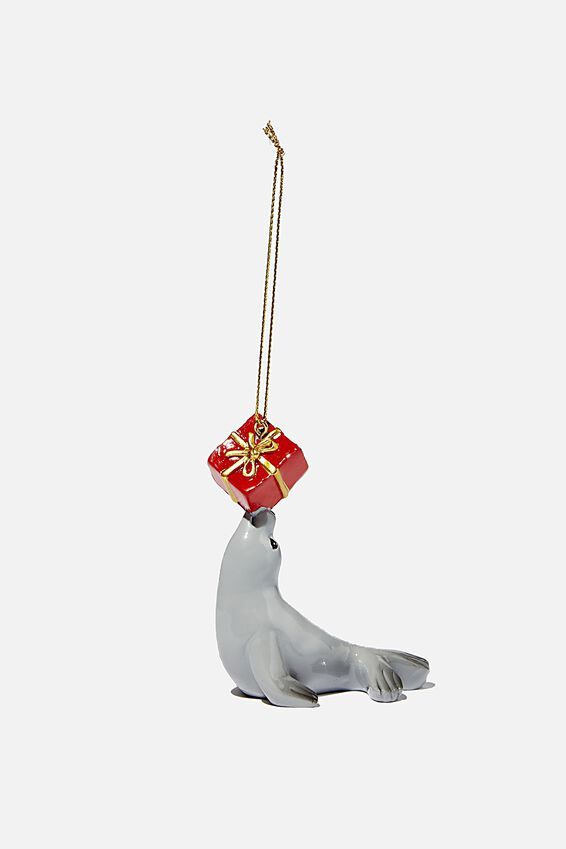 Resin Christmas Ornament, SEAL WITH PRESENT