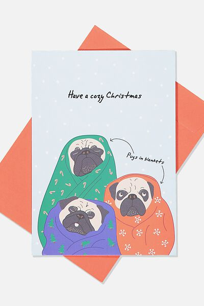 Christmas Card 2019, COSY PUGS IN BLANKETS