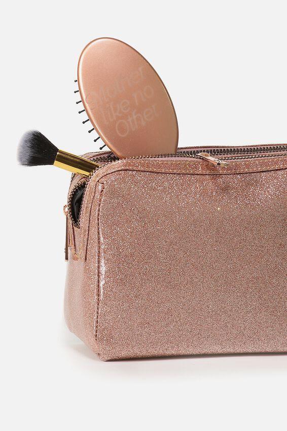 Dual Zipper Cosmetic Case, ROSE GOLD GLITTER