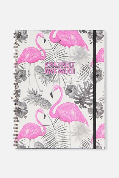 A4 Spinout Notebook - 120 Pages, AMAZINGLY AWKWARD FLAMINGO