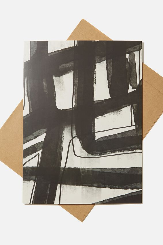 Large Fashion Card, BLACK WHITE ABSTRACT