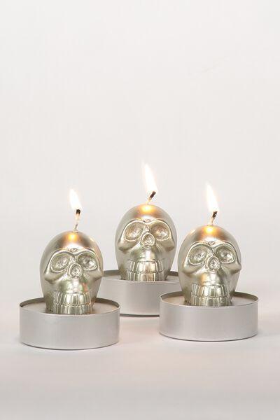 Set Of 3 Tea Light Candles, SKULLS
