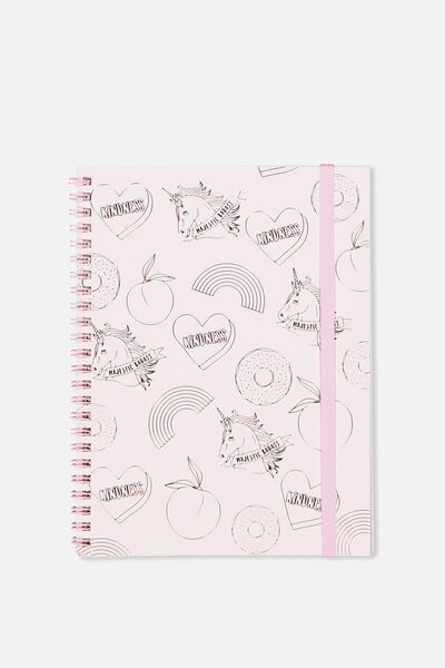 A5 Spinout Notebook - 120 Pages, PINK UNICORN PATCHES