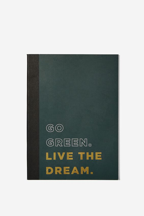 A5 Graduate Blank Notebook, GO GREEN LIVE THE DREAM