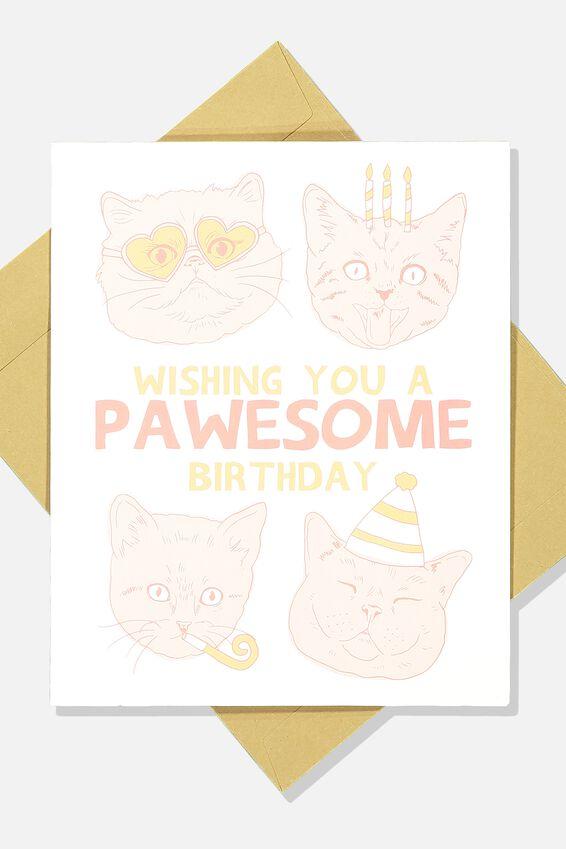 Funny Birthday Card, PAWESOME BIRTHDAY