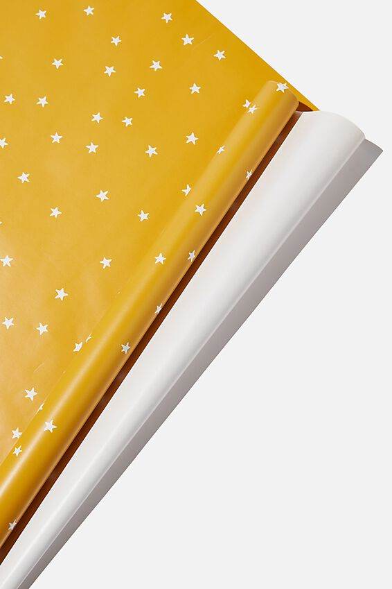 Roll Wrapping Paper, MUSTARD STARS