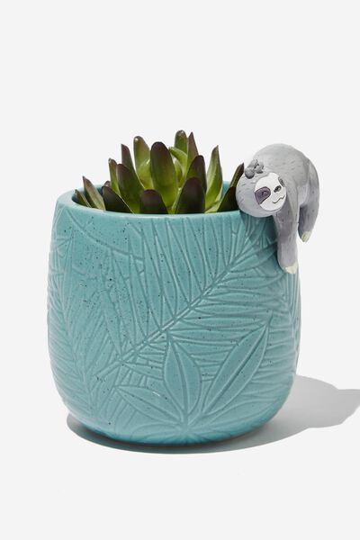 Small Shaped Planter, GREEN WITH SLOTH