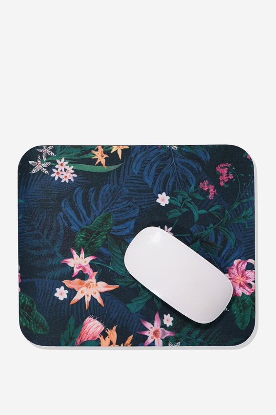 Neoprene Mouse Pad, JUNGLE FLORAL