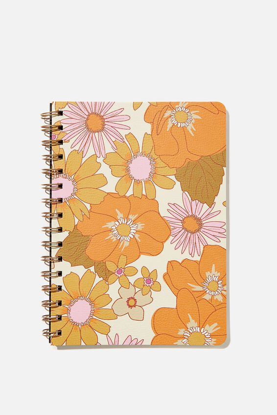 A5 Dot Daily Scribe Notebook, PINK ORANGE STEVIE FLORAL