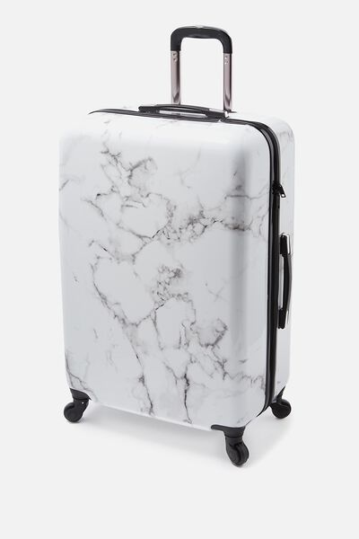 Check In Suitcase 28 Inch, BLACK & WHITE MARBLE