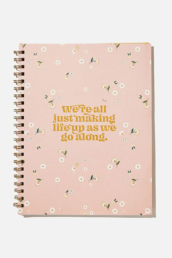 A4 Campus Notebook Recycled, PINK DITSY MAKING LIFE UP