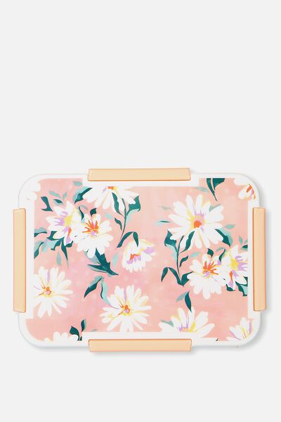 Rectangular Lunch Container, PINK FLORAL