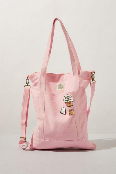 Book Tote Bag, PLASTIC PINK