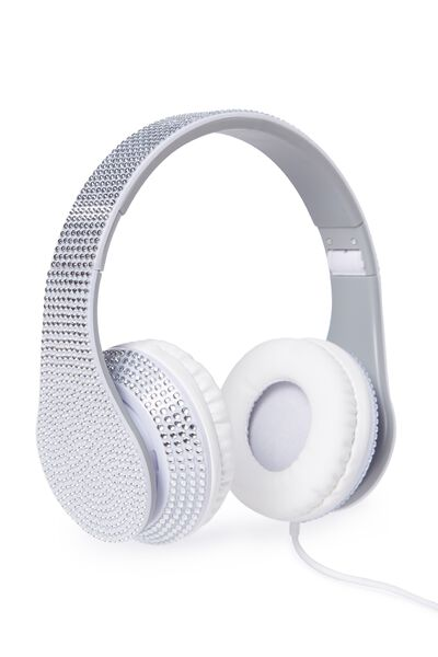 Diamonte Headphones, SILVER