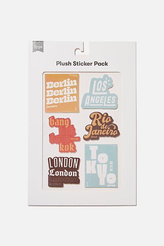 Plush Sticker Pack, CITIES