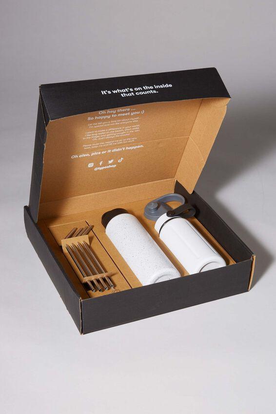 Sustain Me Gift Box, WHITE AND WHITE AND BLACK SPLATTER