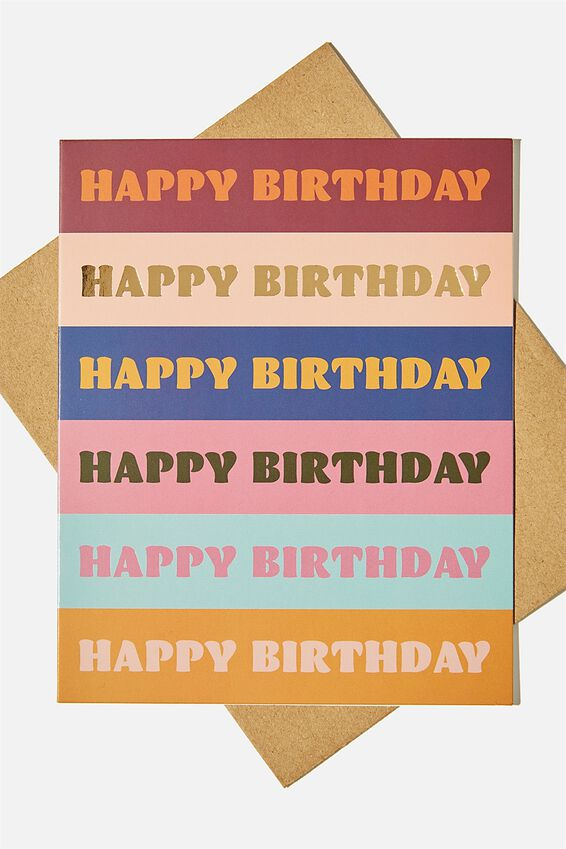Nice Birthday Card, BIRTHDAY MULTICOLOUR STRIPE
